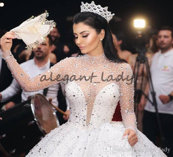 2018 Luxury Glitter Long Sleeve Wedding Dresses Queen Princess Sheer High Neck Crystal Kaftan Dubai Puffy Bridal Wedding Gowns Plus Size