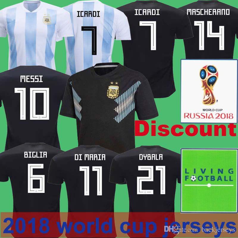 b06ffc834 2018 Argentina Soccer Jersey 2018 World Cup 10 Messi Football Jerseys  Thailand Home Away 9 Batistuta Messi Romero Mercado Fazio Pezzella Gago  From ...