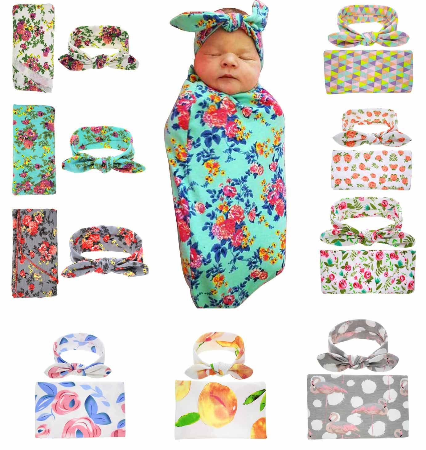 Newborn Baby Wrap Handband Cute Nursery Muslin Baby Floral Pattern