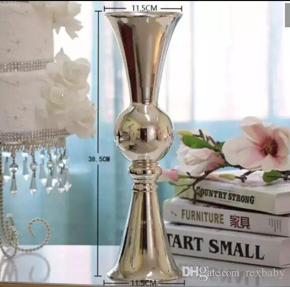 Bougeoir en métal argenté de haute qualité / livraison gratuite de vase à fleurs /H38.5cm