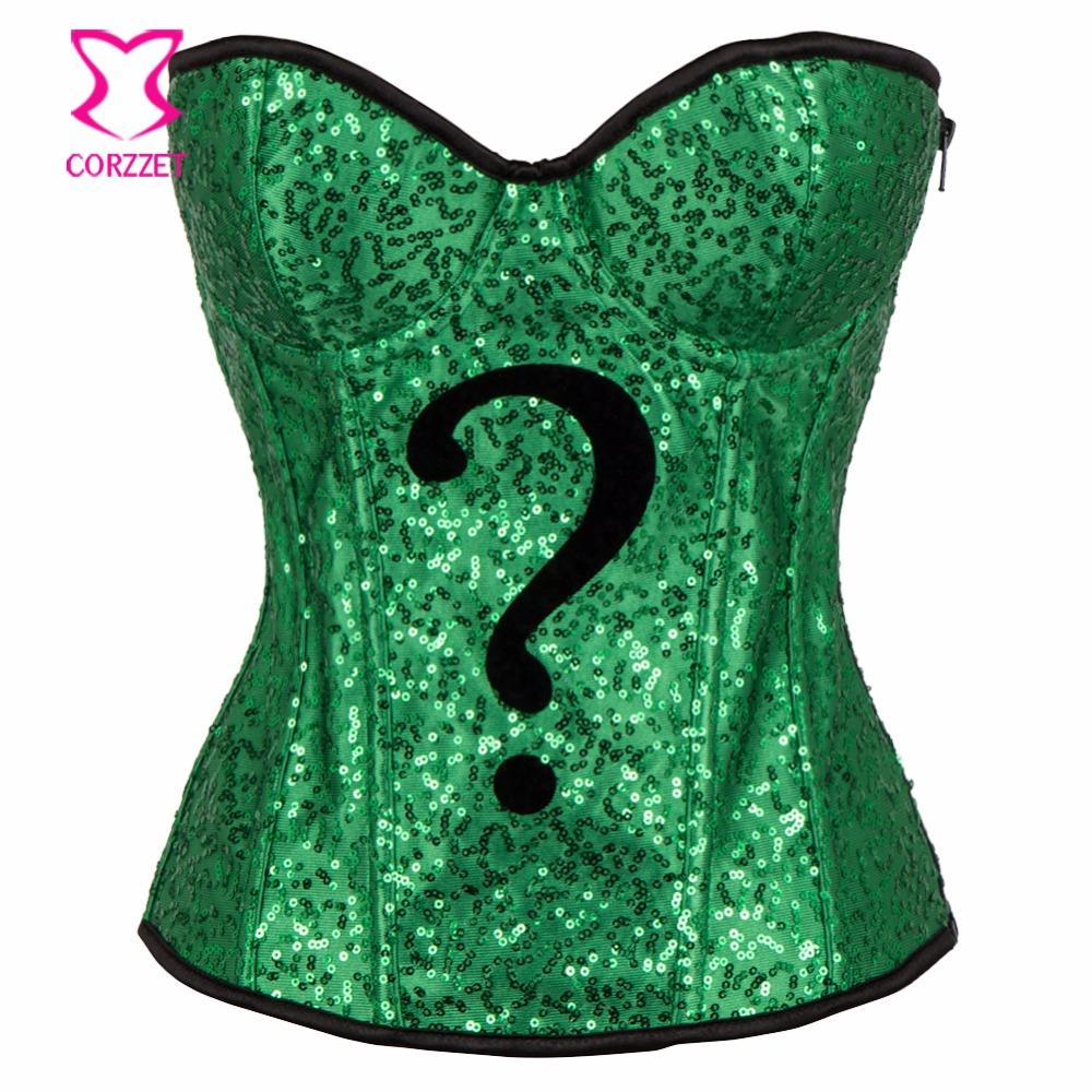 c83b613b5 2019 Green Sequins Zipper Corset Sexy Corpetes E Corselet Overbust Corsage  Gothic Clothing Corsets And Bustiers Burlesque Costumes From Lvyou09