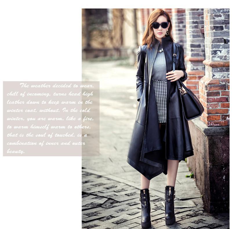 Autumn Pu Leather Trench Coat Plus Size Fashion Women Overcoat Long Windbreaker Elegant Lady Waistband Trench Coat TT3041
