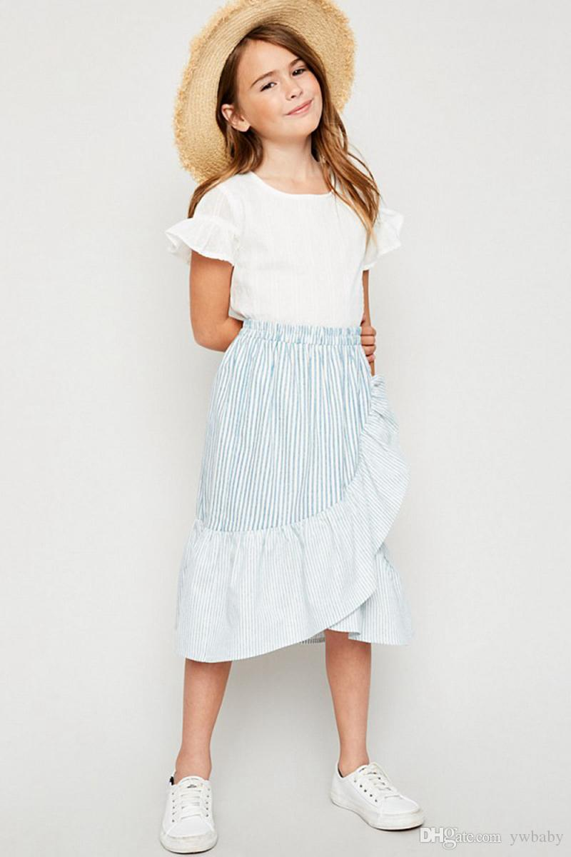 Big Baby Girls Clothes Striped dresses Teenager Girl Cotton Ruffles skirt 2018 Junior Casual Skirts Baby Clothes
