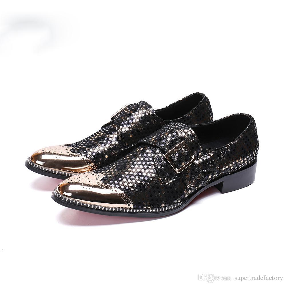 799bea3fad Compre Moda Bullock Tallado Hombres Zapatos De Cuero Genuino De Oxford  Correa De Monje De Oro Zapatos De Vestir De Los Hombres Zapatos De Negocios  Brogue A ...