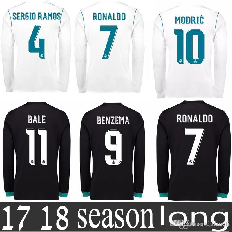 9859c76a1a Compre Camisa Real De Madrid 2018 Manga Comprida Ronaldo Camisas De Futebol  Manga Completa Casa Longe Camisa De Futebol De Fardos De Daeren, ...