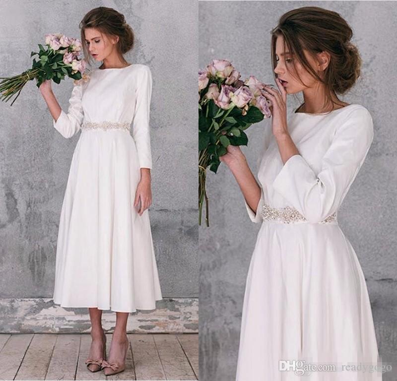Robe de mariée en satin a manches longues avec ceinture en cristal Vintage A Line Tea Length