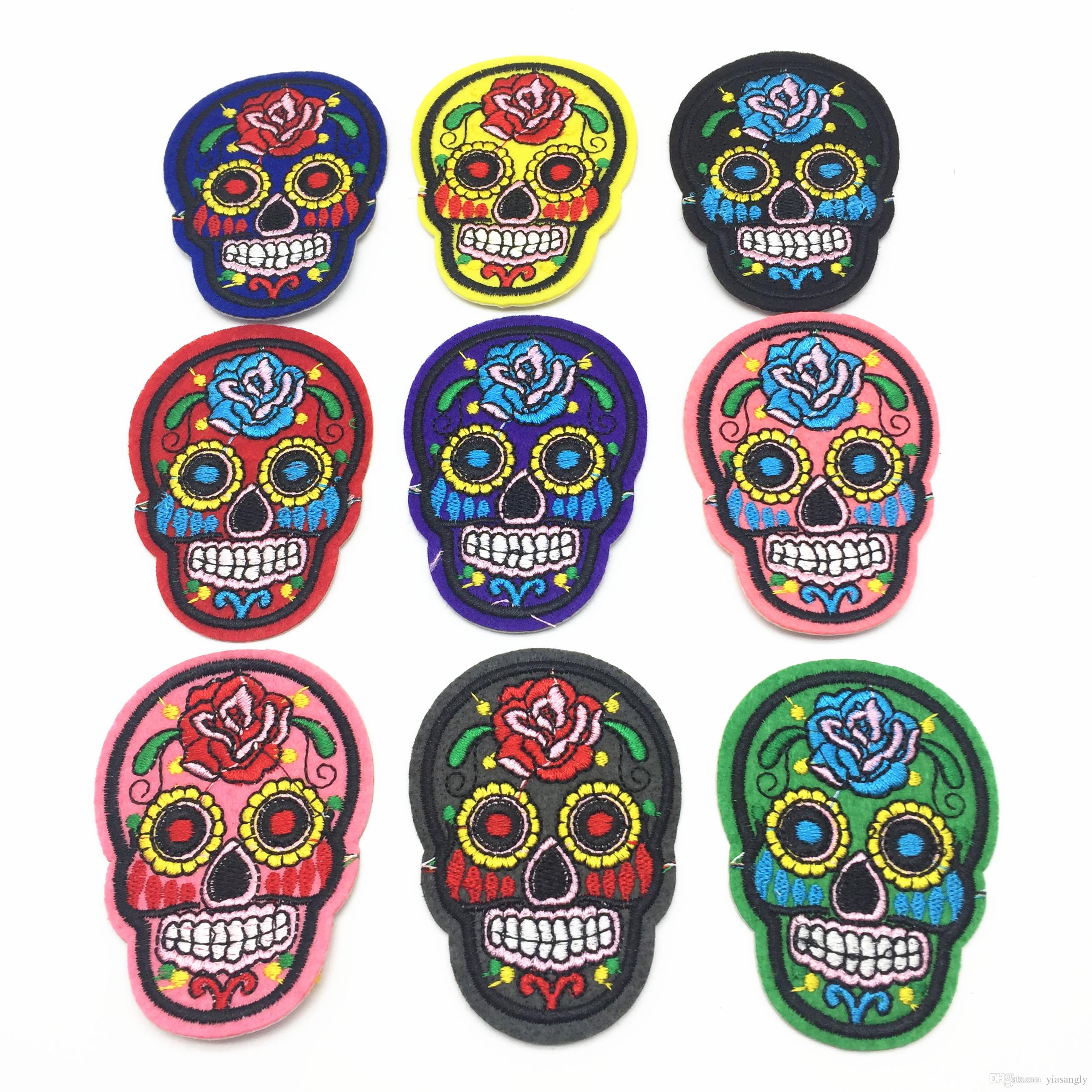 Mixed Skull Clothes Patch DIY Skeleton Embroidered Patches Iron On Fabric Badges Sew On Cloth Stickers
