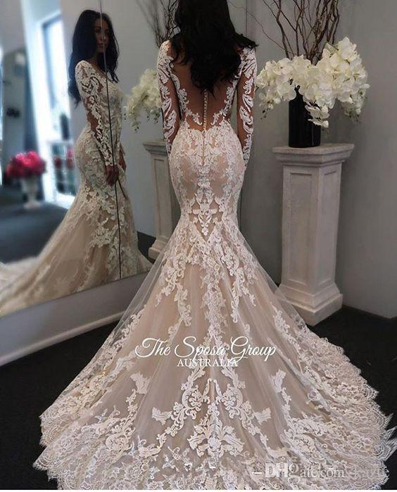 2018 New Illusion Long Sleeves Lace Mermaid Wedding Dresses Tulle Applique Court sheer back covered button Wedding Bridal Gowns With Buttons