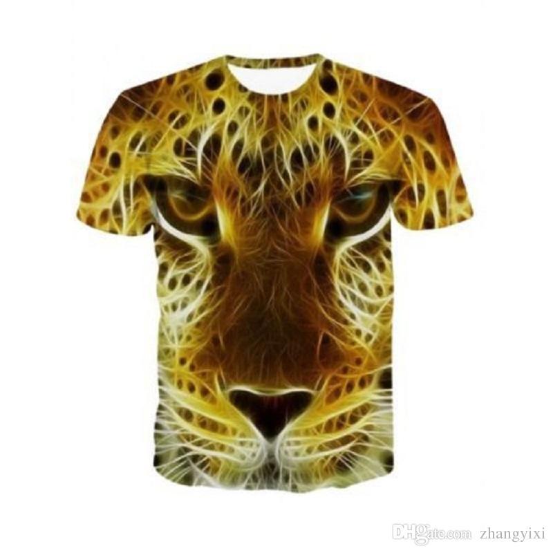 Venta al por mayor Nuevo Diseño Hombres / Mujeres 3d Algodón Camiseta Imprimir León / Tigre / Perro Animal Tops de Verano Tees