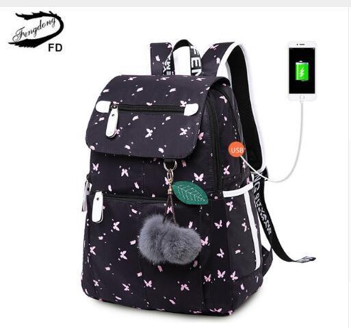 FengDong Female Fashion School Backpack Usb School Bags For Girls Black  Backpack Plusch Ball Girl Schoolbag Butterfly Decoration Designer Backpacks  College ... 5abf165bd6ff