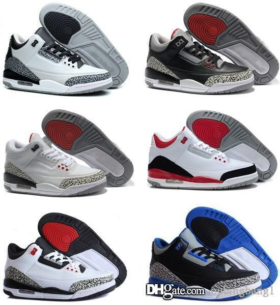 d404c6c20d45 Cheap 3s 3 Black White Cement GS Men Basketball Shoes Infrared Wolf ...