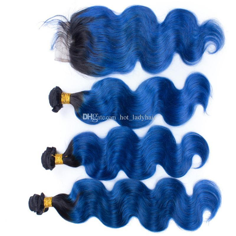 Dark Roots Blue Ombre Human Hair 3 Bundles with Lace Closure Body Wave Two Tone 1B Blue Ombre Brazilian Hair Weaves with Closure