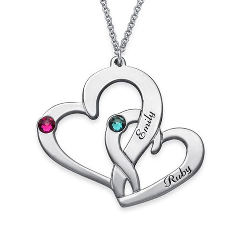 d1240ec985790b 2019 Engraved Two Heart Personalized Name Necklace Rollo Chain Custom Heart  Necklace Customized Cursive Nameplate From Cukojew, $72.21   DHgate.Com