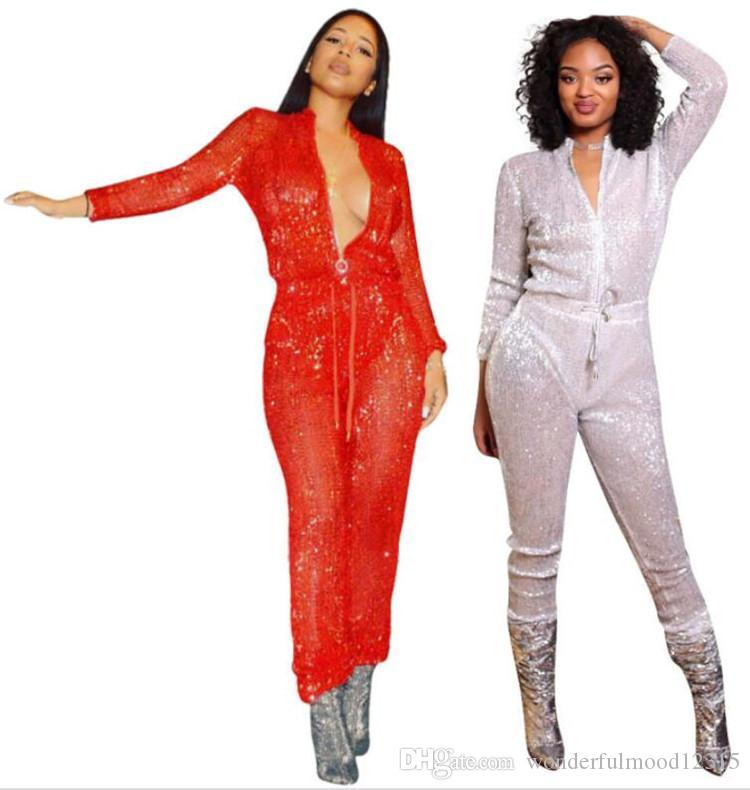 Women Sequins Jumpsuit Long Sleeve Rompers Sexy Glitter Overalls With  Sashes Bodysuit Designer Clothes Night Club Skinny Jumpsuit Wholesale UK  2019 From ... dfe4b27b36