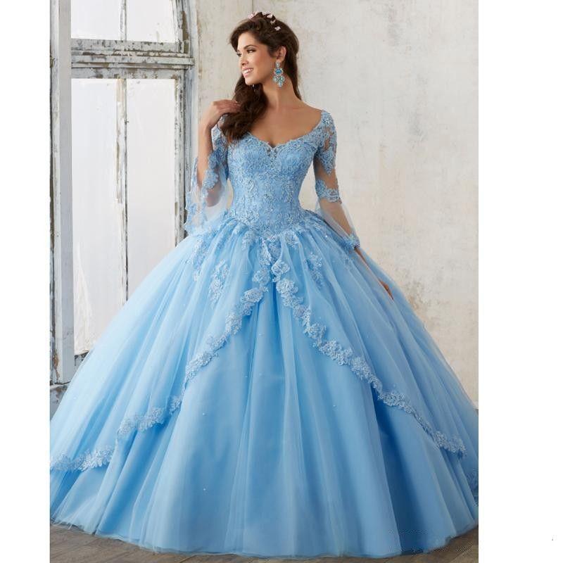 e455ed0ff5 Compre Vestido Azul Celeste Dulce 16 Vestidos De Quinceañera 3 4 Manga  Larga Con Cuello En V Apliques De Encaje Vestidos Largos De Baile Vestidos  De ...