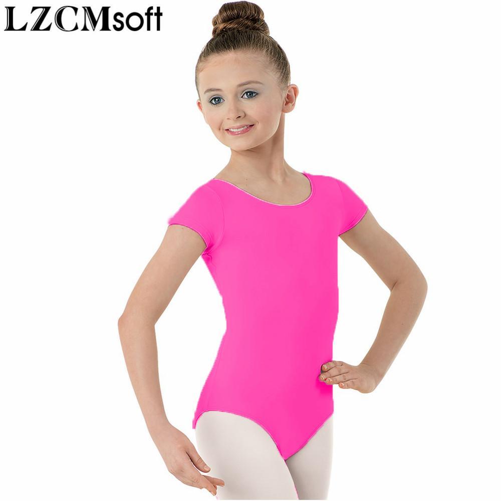 5d767af2b16 LZCMsoft Girls Lycra Spandex Scoop Neck Gymnastics Leotards Child Short  Sleeve Ballet Dancewear Stage Performance Bodysuit Kids