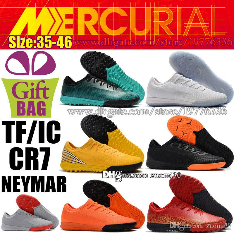 361ca0f95cf 2019 New Mercurial VaporX XII PRO Indoor CR7 Soccer Shoes For Mens Kids Football  Cleats Neymar Women Soccer Boots Ronaldo TF IC Football Shoes From Zuomi30