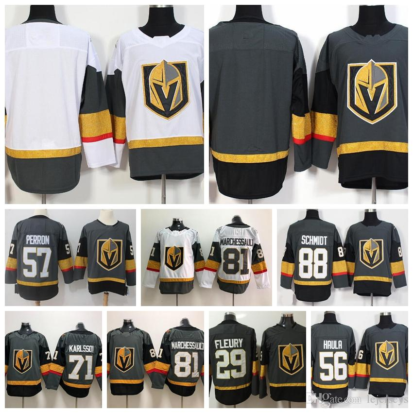 low cost 6965e dd256 2018 Stanley Cup Vegas Golden Knights Youth Jersey 29 Marc-Andre Fleury 71  William Karlsson Gray Inaugural Season