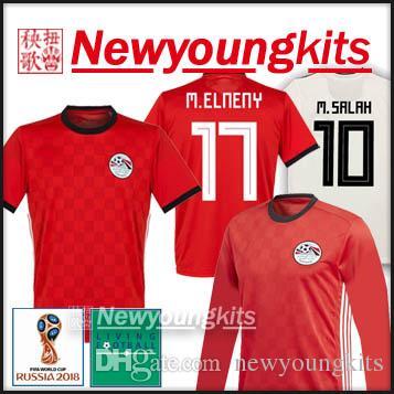 ad01e0beb 2019 2018 World Cup Egypt Home Long Sleeve Soccer Jersey M. Salah Football  Uniforms Correct World Cup Patch Ramadan Hegazi Elneny Soccer Shirt From ...