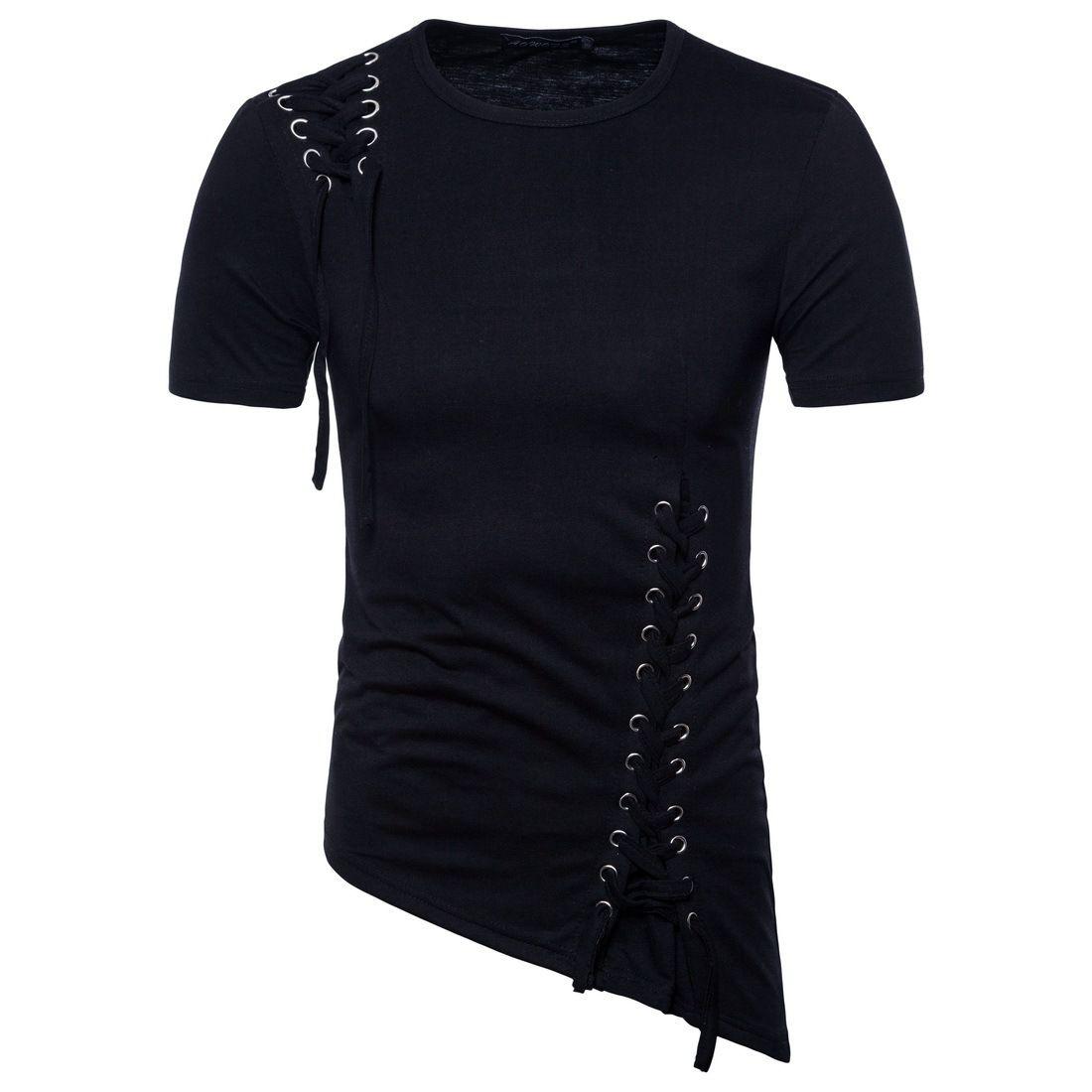 Hip Hop t camisas Slim-fit Irregularmente-Projetado Top Shirts Novas Marcas de Algodão de Manga Curta T-shirt Tripulação Pescoço Camisas para Homens Frete Grátis