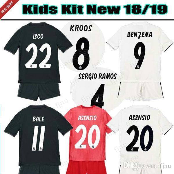 5ebb629c46 Compre 2018 19 Casa Branco Longe Menino Camisas De Futebol 2019 Crianças  Kits Real Madrid Camisa De Futebol Criança ISCO ASENSIO BALE KROOS Ó  Vermelho ...