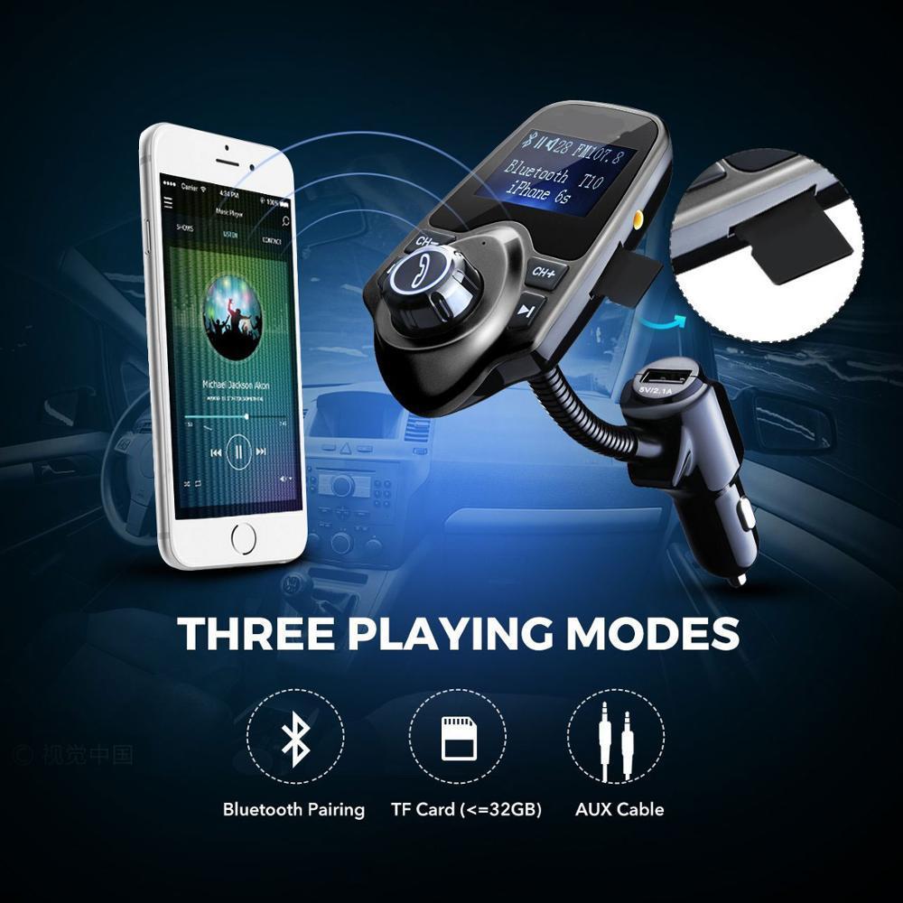 Eincar FM Bluetooth Transmisor de FM Adaptador de radio Kit de audio para coche 5V 2.1A Cargador de coche USB Reproductor de MP3 Tarjeta TF Tarjeta de memoria USB