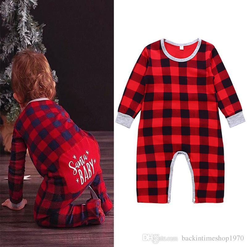 03bd6fc85 2019 Xmas Baby Girls Boys Plaid Letter Print Romper Infant Lattice Jumpsuits  2018 Autumn Christmas Boutique Kids Climbing Clothes From  Backintimeshop1970, ...