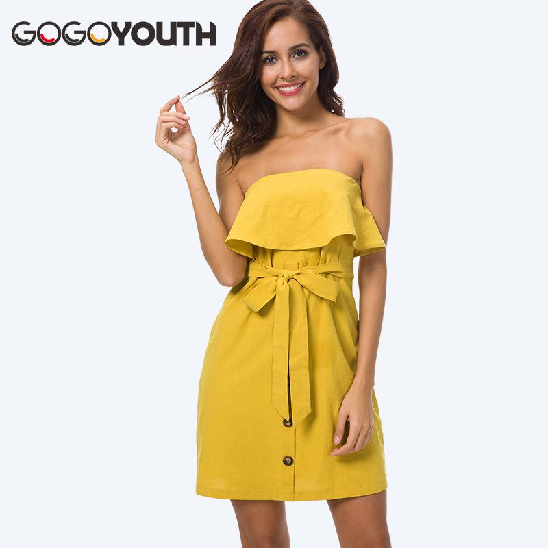 9c7c96868 2019 Gogoyouth 100% Cotton Linen Dress Women 2018 Strapless Casual Tunic  Beach Party Dress Midi Length Summer Sundress Robe Femme From Moussy