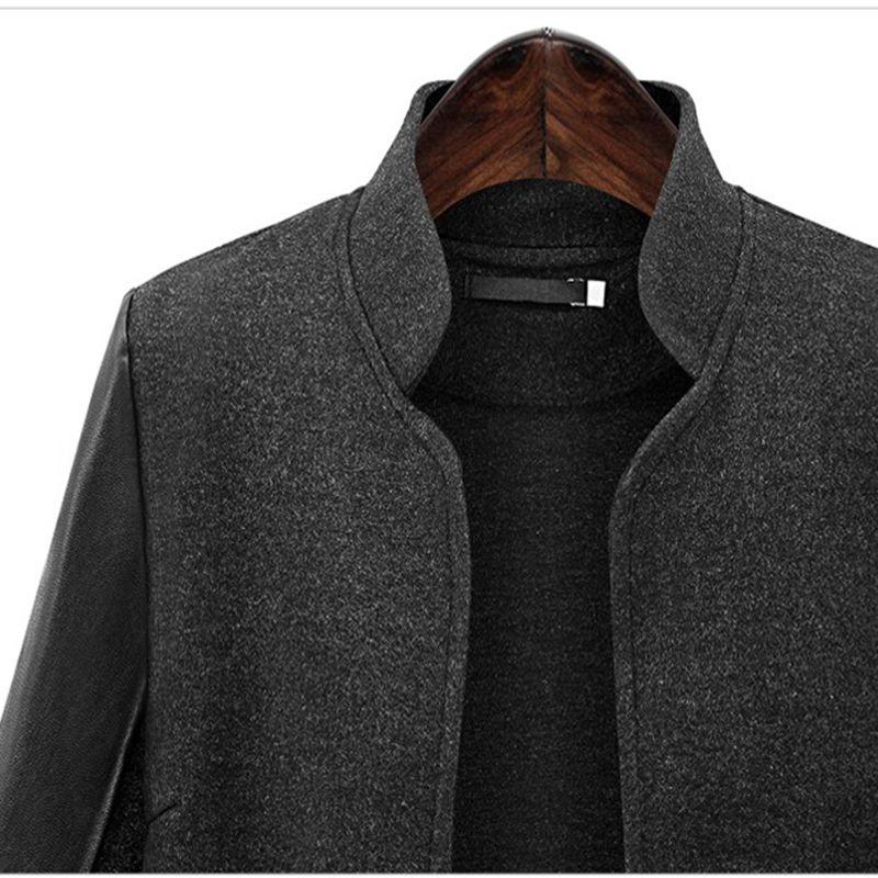 2018 зима плюс Размер XL - 5XL WoolBlends лоскутное искусственная кожа женщины куртки европейский стиль основные пальто черный Женская верхняя одежда