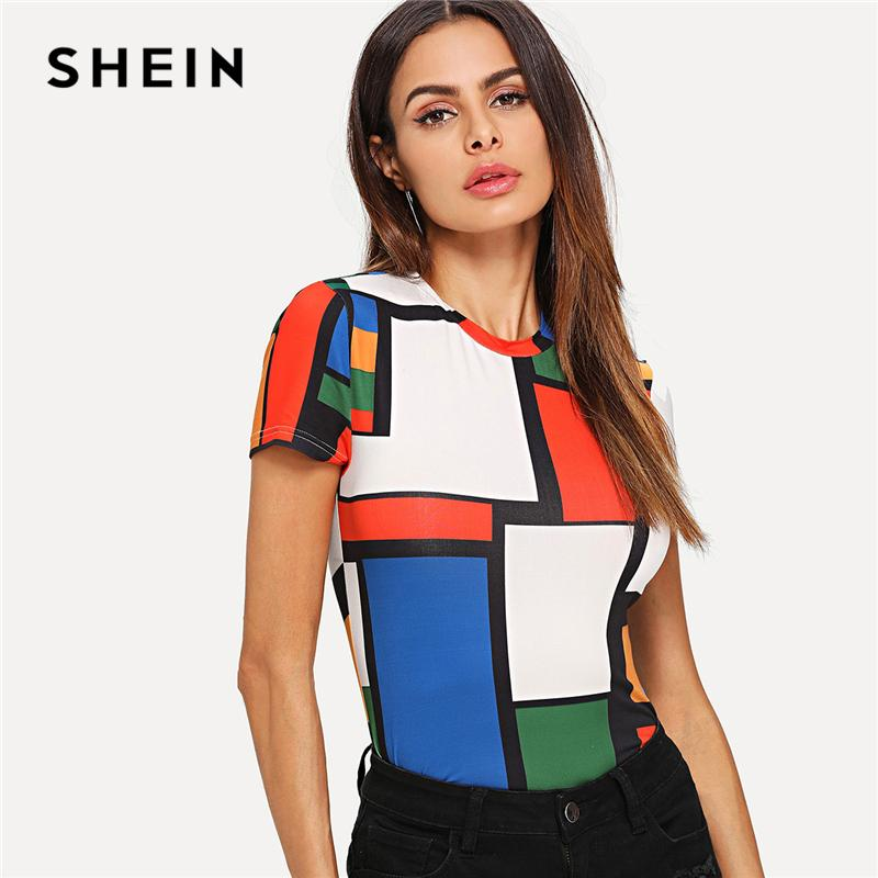 46ca9f5536 SHEIN Geometric Print Color Block Top Multicolor Short Sleeve Round Neck Tee  Women Raglan Sleeve Slim Fit Pullovers T Shirt Tees Designs Find A Shirt  From ...