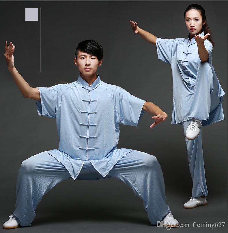 Unisex Cotton silk Blend Kung Fu Tai Chi Wushu ShaoLin Wudang Uniform  Exersise Wear Bruce Lee Jackie Chan Jet Li Fighting Outfit