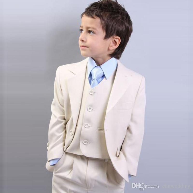 Beige Slim Fit Boys Suits Kids Suits 2018 Wedding Prom Set  Jacket+Pants+Vest Formal Wear For Children Kids Boys Wear Kids Formal  Clothes From Chnwedding c9651d03da1d