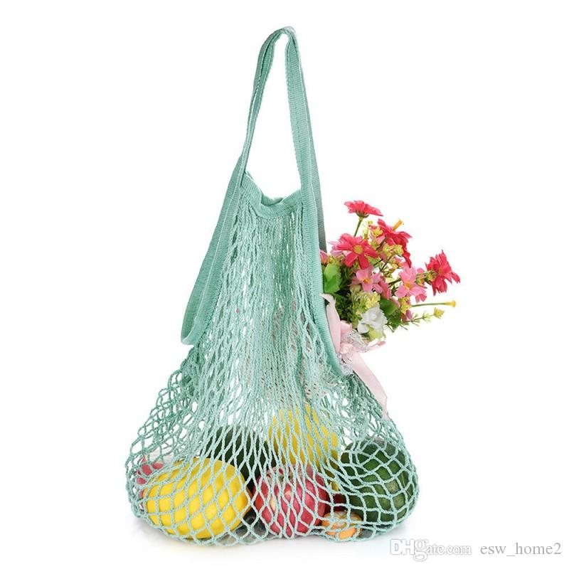 Reusable Grocery Produce Bags Cotton Mesh Ecology Market String Net Shopping Tote Bag Kitchen Fruits Vegetables Hanging Bag