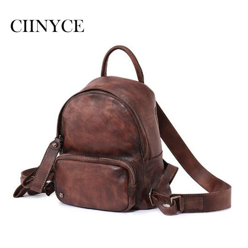 Genuine Leather Handmade Vintage Women Back Pack Female Bags 2018 Brown  Cowhide High Quality Soft Cow Skin Retro Backpack School Backpacks Cool  Backpacks ... df42dcfd18b6d