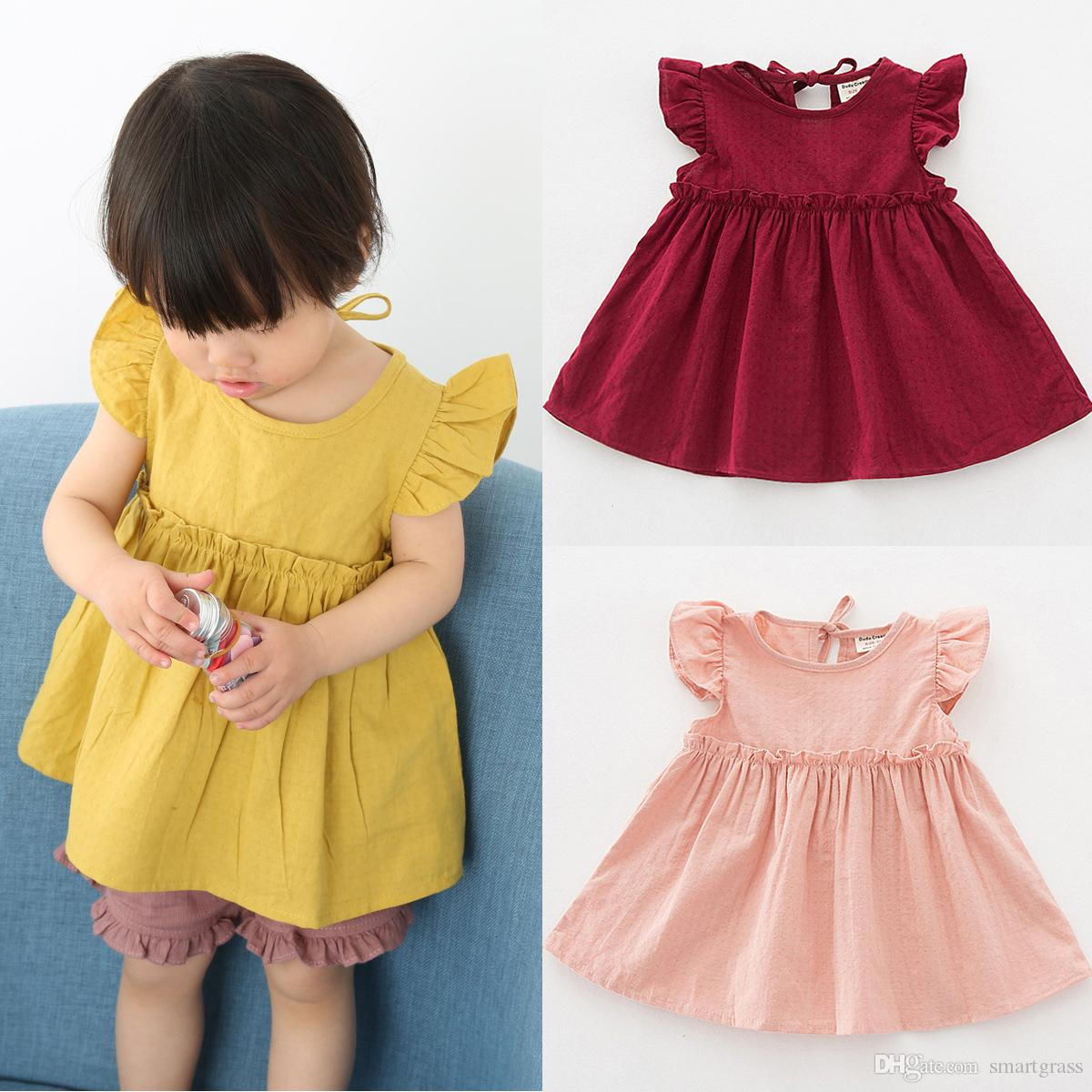 2018 Fly Sleeve Baby Girl Mini Dresses Pleated Cotton Infant Girls