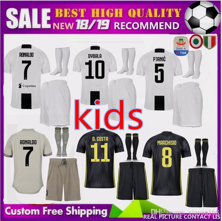 f5a00987ee0 FREE Ship 18 19 JUVENTUS Kids RONALDO Soccer Jersey Kit Home 2018 2019  DYBALA MARCHISIO MANDZUKIC PJANIC Matuidi Away Boy CR7 Football Shirt DYBALA  HIGUAIN ...