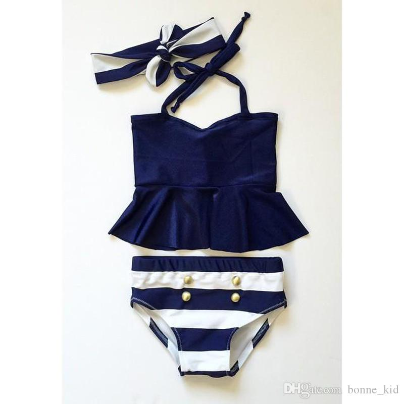4bfc095eec3 2019 Summer Baby Girls Striped Navy Swimwear With Headband Three Piece A  Set Kids Swimsuits Bikini Bandage Swimsuit Bathing Suit Beach Wear From  Bonne kid