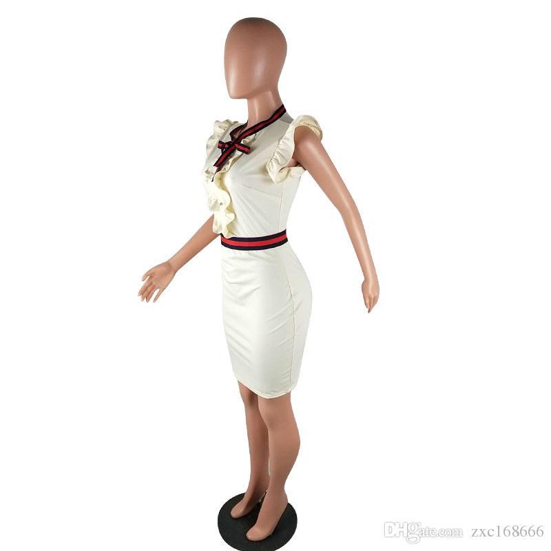 Mulheres Vestido de Festa Ruffle manga arco bonito vestido feminino bainha pin up vestido natural em torno do pescoço magro sexy bodycon vestidos