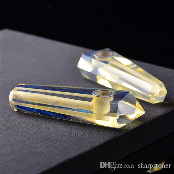 Crystal Smoking Pipe Quartz Tobacco Pipe Red Green Yellow Blue Hand Carved Gemstone Pipes on sale