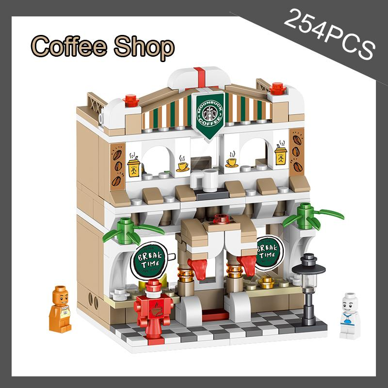 TOP sale 6 IN 1 city street road sceen baby creative gift building blocks model toys resturant shop coffee break room gift toys
