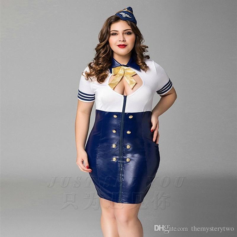 Azul de alta qualidade Naughty Marinha Aeromoça Uniforme Traje Sexy Menina  Mulheres Fantasia Plus Size Grande Boneca de Bebê Lingerie PU Vestidos de  Látex 4da507fc975
