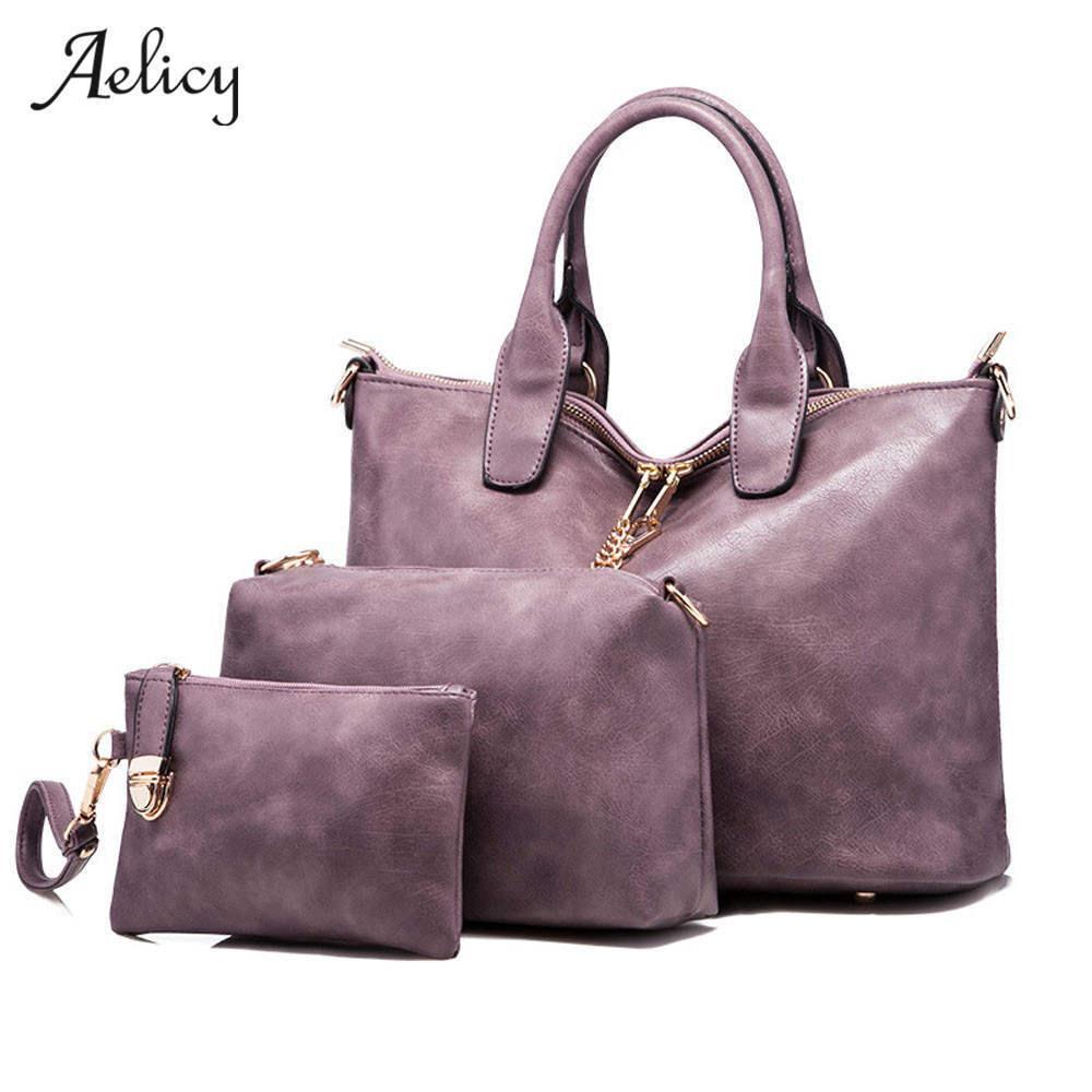 bf2997e43 Compre 2019 Aelicy Alta Qualidade 3 Conjuntos De Couro Das Mulheres Bolsas  E Bolsa De Moda Composto Sacos Senhoras Saco Do Mensageiro Para As Mulheres  ...