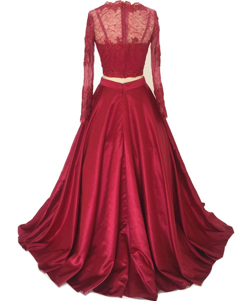 Black Two Pieces Graduation Evening Dresses Lace Long Sleeve Crop Top Prom Gowns Celebrity Dresses Long Floor Length