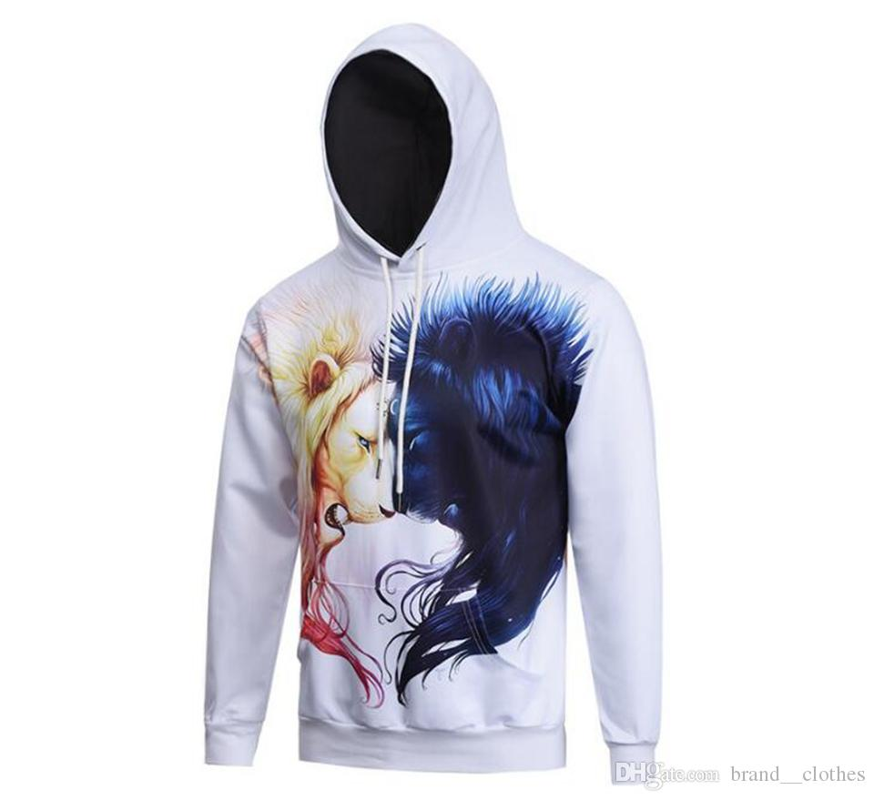 c2b14ebde1b Men s New 3D Digital Printed Youth Hooded Animal Pattern Long-sleeve ...