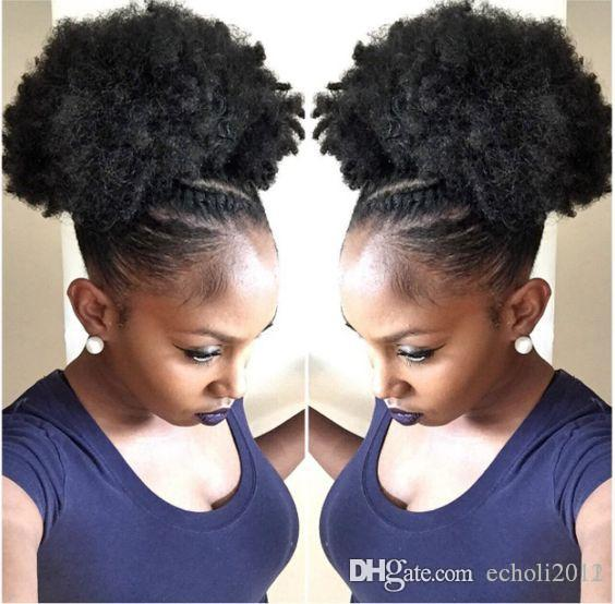 Kids Afro Ponytail Hair Extension Weave Braid Hairstyle Kinky Curly Short High Natural Puff Human Hair Extension Clip In 120g Natural Color Short Hair With Ponytail Cute Ponytails For Short Hair From Echoli2012
