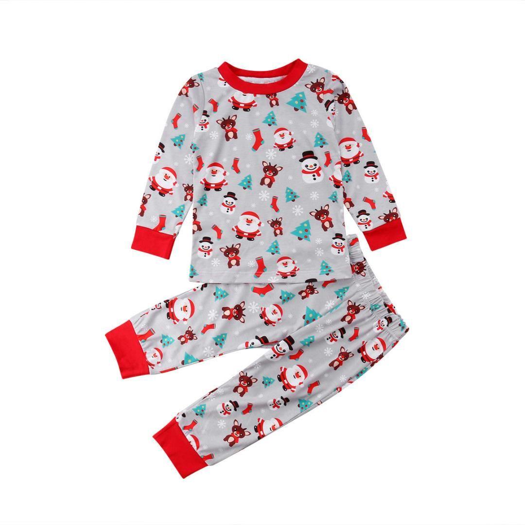 0e40bad129224 Acheter 2018 Derniers Vêtements Pour Enfants Nouveau Né Nourrisson Bébé  Garçon Fille Noël Mignon Santa Barboteuse Imprimée Tops + Pantalons Pyjamas  ...