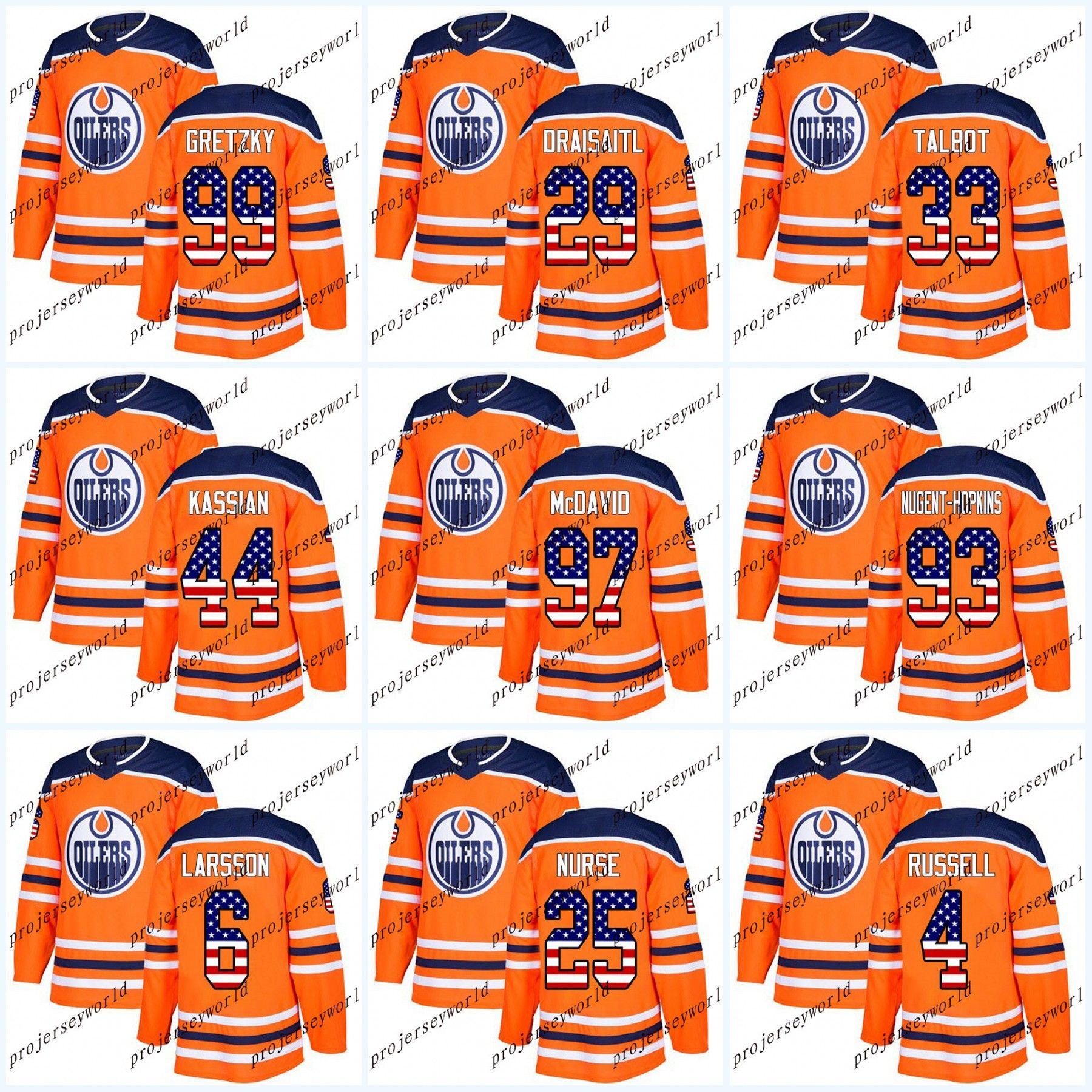 brand new 1c4a9 d59dd USA Flag Stitched Edmonton Oilers Zack Kassian Connor McDavid Wayne Gretzky  Leon Draisaitl Cam Talbot Ryan Nugent-Hopkins Ice Hockey Jersey