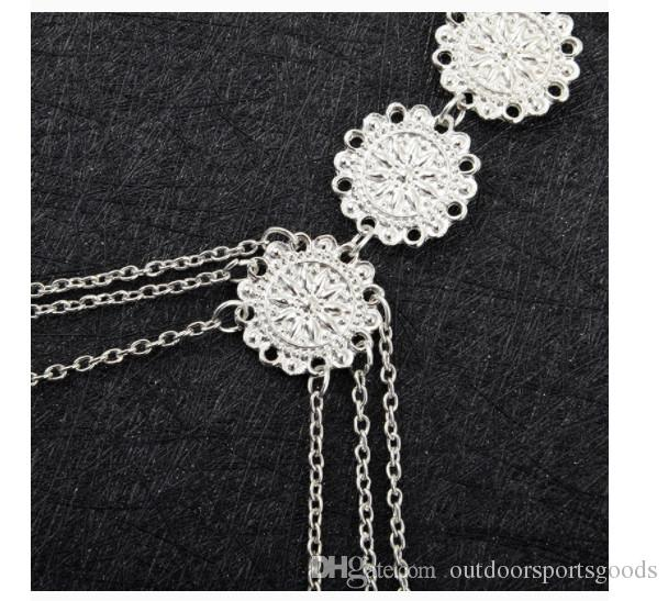 A beach Party Ladies holiday sexy engraved flower disk body chain necklace Retro style Gold / Silver match the swimsuit