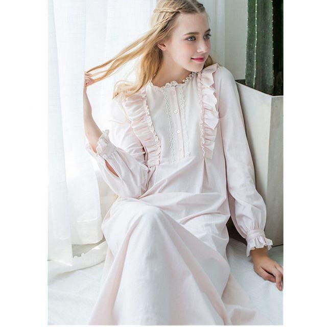 72e6ea8470e1 2019 Victorian Night Dress Autumn Sleepwear Pink Cotton Long Nightgowns  Sleepshirts Comfortable Homewear Elegant Sleepdress From Westlakestore