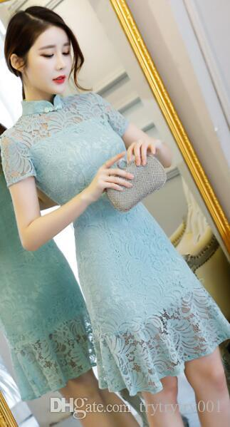 f0e4f9202 2019 2018 New Ceremonial Cheongsam Dress,Summer,Blue,Chinese Bride,Long  Body Cultivation,Fish Tail,Banquet,Toast. From Trytrytry001, $65.33 |  DHgate.Com